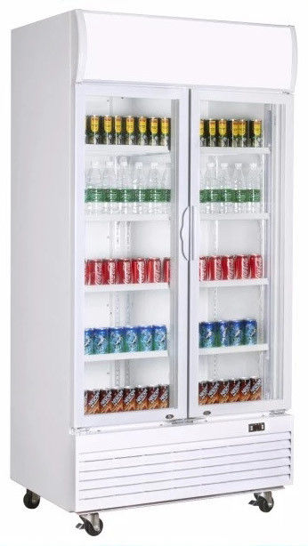 2 Doors Frost Free Display Showcase Cooler With Double Layer Tempered,810L Fan Cooling Beverage Showcase